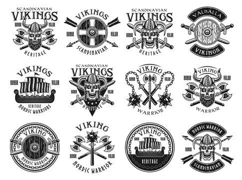 Vikings and scandinavian warriors vector emblems