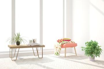 White cozy minimalist room with coral armchair. Scandinavian interior design. 3D illustration