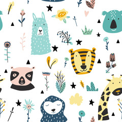 Safari baby animals seamless funny pattern.