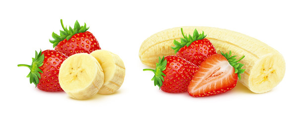 Banana and strawberry isolated on white background with clipping path