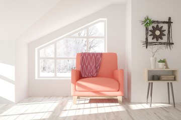 White stylish minimalist room with coral armchair and winter landscape in window. Scandinavian interior design. 3D illustration
