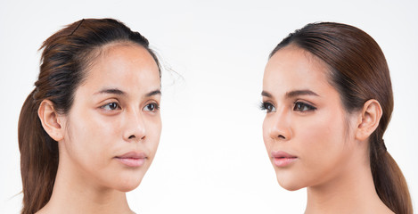 Asian Woman before after applying make up hair style. no retouch, fresh face with acne, lips, eyes, cheek, nice smooth skin. Studio lighting white background, for aesthetics therapy treatment