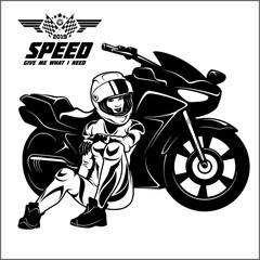 Woman and sport motorbike - monochrome vector illustration.