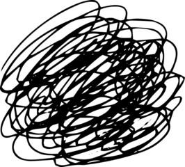 Illustration of a circle of scribble vigorously