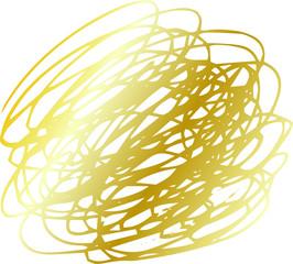 Illustration of a Gold circle of scribble vigorously