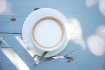 Coffee cup with sunlight.