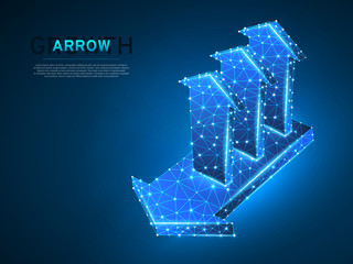 Arrow growth, success, team work sign. Three arrows goes up from one arrow wireframe digital 3d Low poly collaboration concept with lines, dots on blue background. Vector neon polygonal RGB color