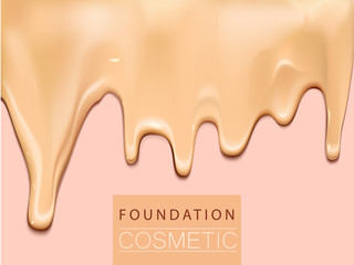Foundation liquid texture, creamy skin tone foundation in 3d illustration, extreme close up look
