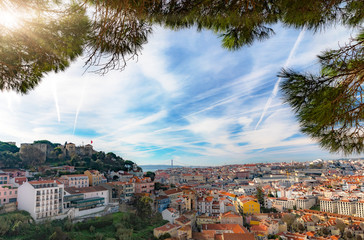Panorama with Contrails over Lisbon