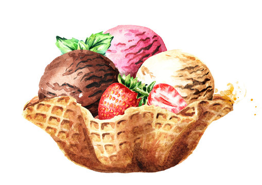 Three scoops of strawberry, vanilla and chocolate ice cream with berries and mint in waffle bowl. Watercolor hand drawn illustration, isolated on white background