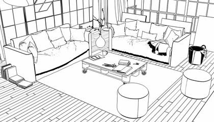Postindustrial Penthouse Loft (sketch) - 3d illustration