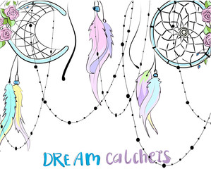 Colorful hand drawn dreamcatchers and roses with leaves, vector blue background, can be used for fabric