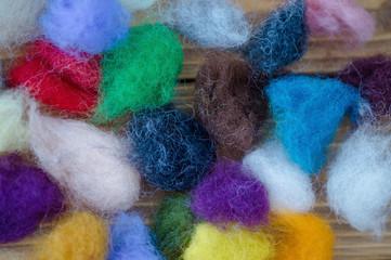 Multi colored fleece skeins for felting