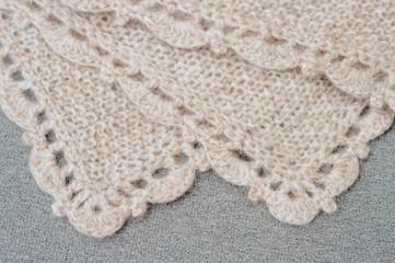 Handmade woolen fabric close-up