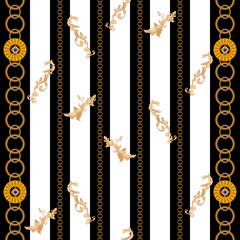 Baroque seamless pattern with chains and leaves. Vector luxure striped patch for fabric, scarf.