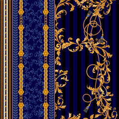 Baroque seamless pattern with chains, ropes and brushes.Vector patch for print, fabric, scarf