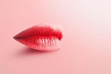 Contemporary art collage. Fashion Concept Lipstick. Multicolored lips. Modern minimal art.