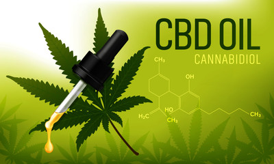 Cannabis leaf with cbd oil dropper and molecular structure