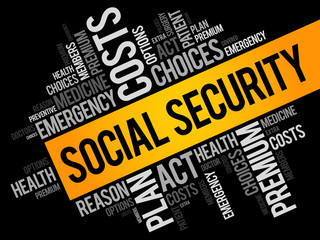 SOCIAL SECURITY word cloud collage, health concept background