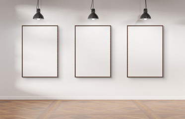 Three frames hanging on a wall mockup 3d rendering