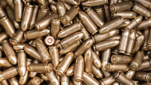 Top view of gun ammunition. Bullets for pistol