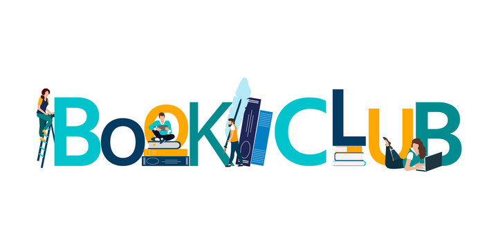 Vector logo concept of a book club with people reading.