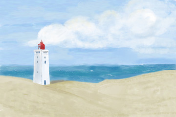 Bright beach sand dunes with the famous danish landmark lighthouse with blue sky background. Rubjerg Knude Lighthouse, Lønstrup in North Jutland in Denmark, North Sea. Watercolor illustration