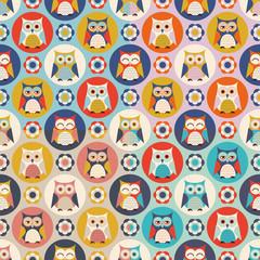 seamless cute owls vector pattern