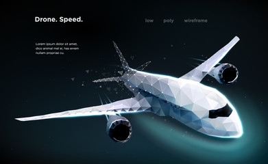 Airliner Aircraft Speed A flying airliner is a top view Illustration is executed in the form of particles, geometric art, lines and points in the form of a starry sky or space. Low poly wireframe mesh Wall mural