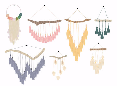 Macrame wall hangings.Bundle of elegant handmade home decorations made of cotton cord isolated on white background.