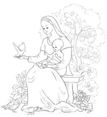 Mary with baby Jesus. Vector cartoon christian coloring page