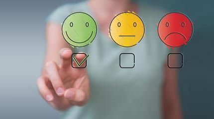 Businesswoman using thin line customer satisfaction rating