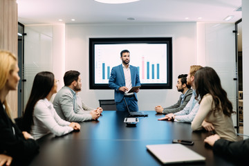 Fotobehang - Picture of business meeting in conference room