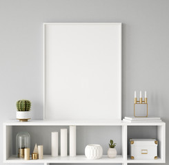Mock up poster frame closeup in interior background, Scandinavian style, 3d render