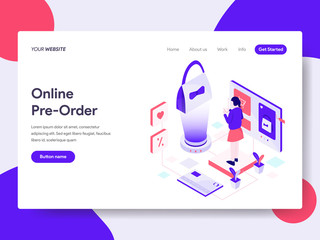 Landing page template of Online Pre Order Illustration Concept. Isometric flat design concept of web page design for website and mobile website.Vector illustration