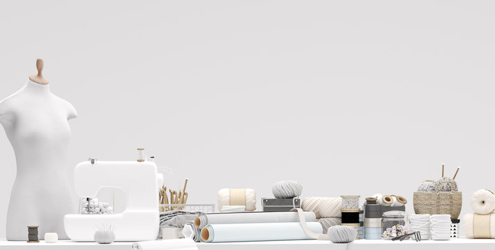 Bright atelier studio closeup with various sewing items, fabrics and mannequin on table, 3d render