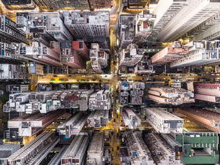 Top down view of the very densly populated North Point district in Hong Kong
