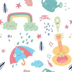 Doodles seamless pattern with cute cartoon, sweets and kawaii ch