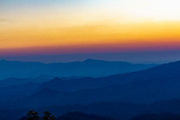 colorful of sky in the evening or morning at famous mountain in Thailand Fototapete