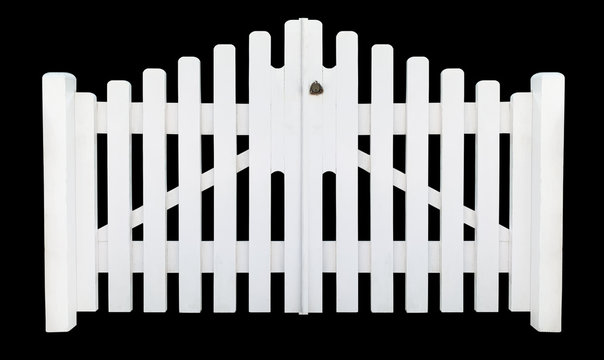 Front view of white wooden gates on a black background (isolated)