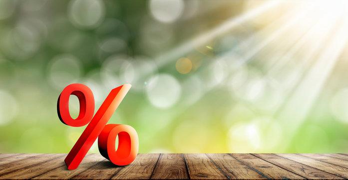 Prozentzeichen auf einem Brett Hintergrund mit Sonnenschein und bokeh