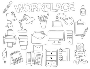 Workplace set of icons and objects. Hand drawn doodle coffee supplies design concept. Black and white outline coloring page game. Monochrome line art. Vector illustration.