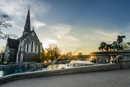Gefion Fountain in front of St Alban's Church in Copenhagen, Denmark
