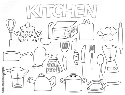 Kitchen Utensils Set Of Icons And Objects Hand Drawn Doodle