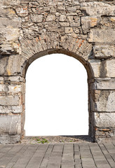 Antique wall with arch  with empty space