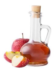 Bottle of apple organic vinegar isolated on white background