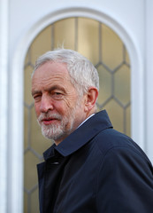 Jeremy Corbyn, leader of the Labour Party, leaves his home in London