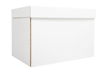 Blank white cardboard box isolated on white background. Delivery concept