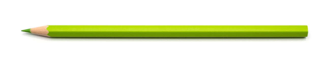 green pencil single isolated on white background with clipping path.