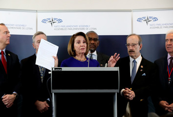 U.S. Speaker of the House of Representatives Nancy Pelosi attends a news conference in Brussels